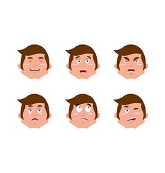 Emotions man set expressions avatar people vector image vector image