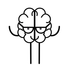 line icon adorable kawaii brain with glasses vector image vector image