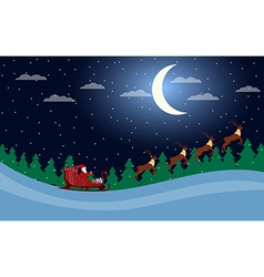 Santa claus is flying in a sleigh with reindeer vector