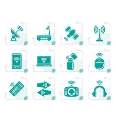 stylized wireless and communication technology vector image
