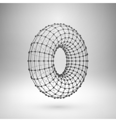 Wireframe mesh polygonal torus vector image vector image