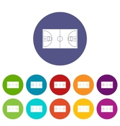 Basketball field set icons vector image vector image