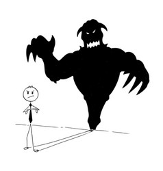 conceptual cartoon of businessman and his monster vector image