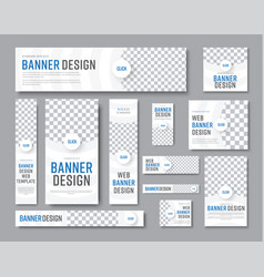 design of white banners of standard sizes with a vector image