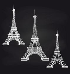 eiffel towers set on chalkboard vector image vector image