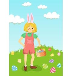 Girl Hunt Easter Egg in Garden vector image vector image