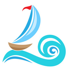 sailing ship icon vector image vector image