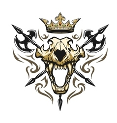 Skull of a lion crown heraldic emblem vector image