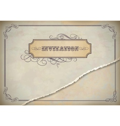 Vintage invitation design with label text frame vector image vector image
