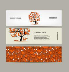 banners design foxy tree vector image vector image