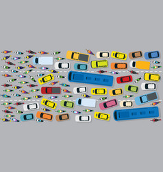 cars on road with traffic jam chaotic vector image