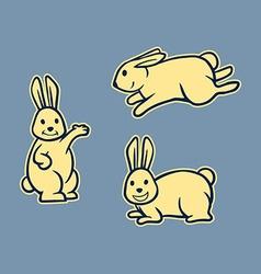 Rabbit Line Art Set vector image