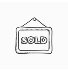 Sold placard sketch icon vector image vector image