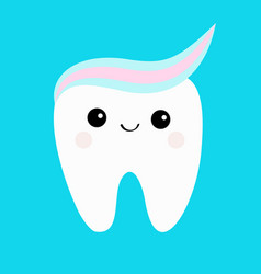 tooth with toothpaste hair cute funny cartoon vector image