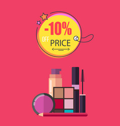 10 off price make up poster vector