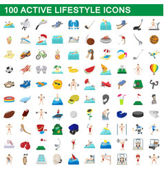 100 active lifestyle icons set cartoon style vector image