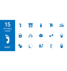 15 baby icons vector image