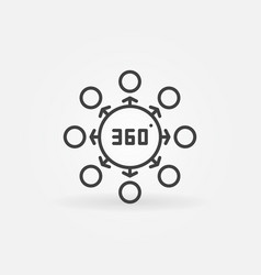 360 degrees concept thin line icon or vector