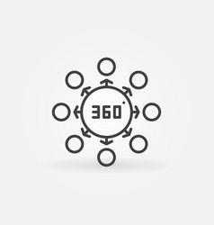 360 degrees concept thin line icon vector