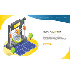 3d printing process landing page website vector image
