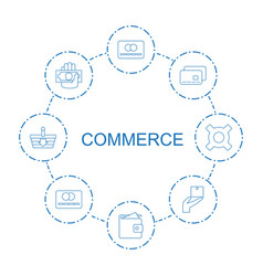 8 commerce icons vector