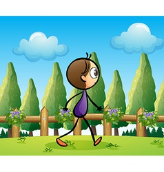 A stickman walking across the pine trees vector