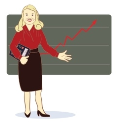 A woman with a calculator stands near the diagram vector image