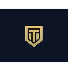 Abstract letter t shield logo design template vector