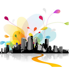 Abstract sky with cityscape vector
