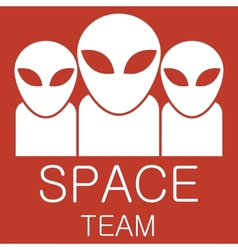 alien team on red background vector image