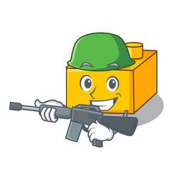 Army plastic building blocks cartoon on toy vector