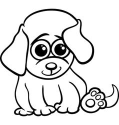 baby puppy cartoon coloring page vector image