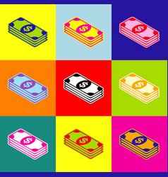 bank note dollar sign pop-art style vector image