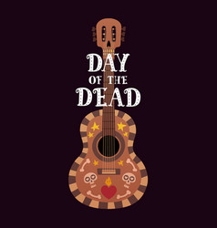banner for the day of dead with guitar and dia de vector image