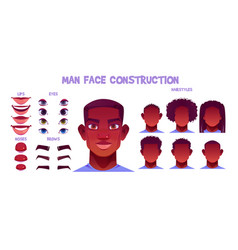 black man face construction avatar creation set vector image