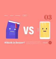 Book vs e-book landing page template innovative vector