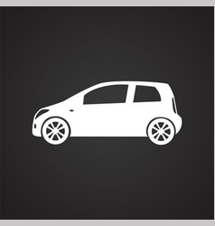 Car icon on black background for graphic and web vector
