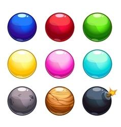 Cartoon colorful bubbles balls set vector image