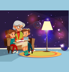 Cartoon grandmother reading to girl boy vector