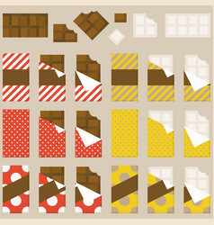 chocolate bar and chocolate bitten set vector image