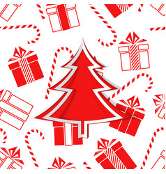christmas tree and gifts new year vector image