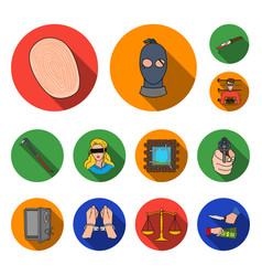 crime and punishment flat icons in set collection vector image