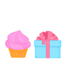 cupcake sweet food gift box dessert isolated on vector image