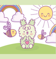 cute bunny sitting in grass with clouds sun vector image