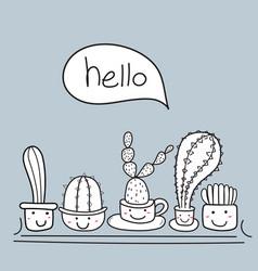 cute cactus with happy face say hello vector image