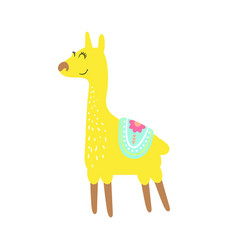 Cute childish lama animal isolated vector