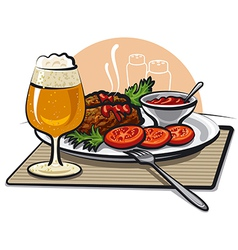 Cutlets and beer vector