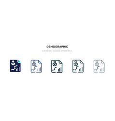 Demographic icon in different style two colored vector