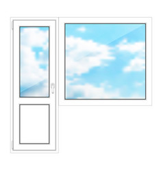 door and window on a white background vector image