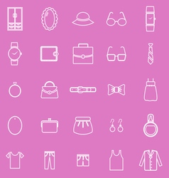 Dressing line icons on pink background vector image